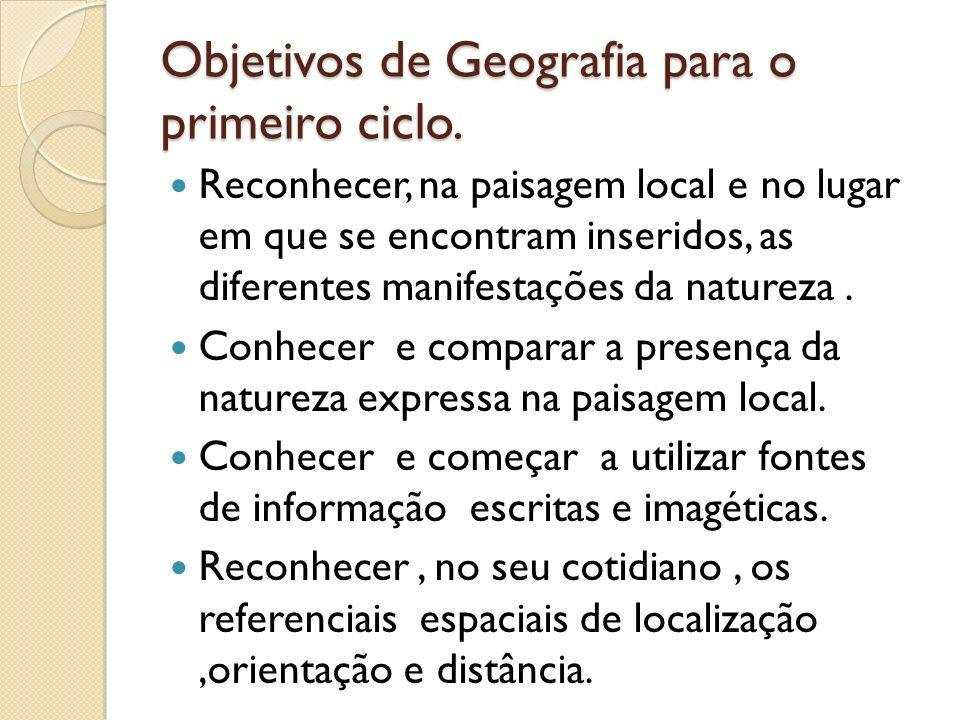 Objetivos de Geografia para o primeiro ciclo.