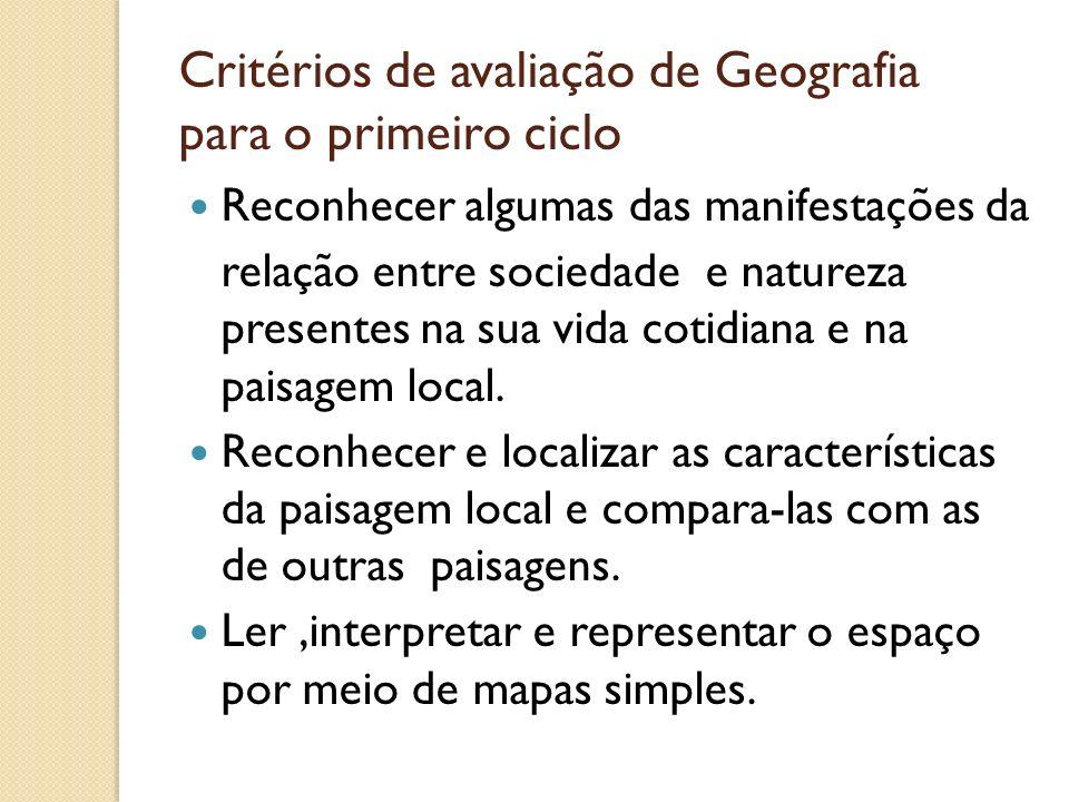 Critérios de avaliação de Geografia para o primeiro ciclo