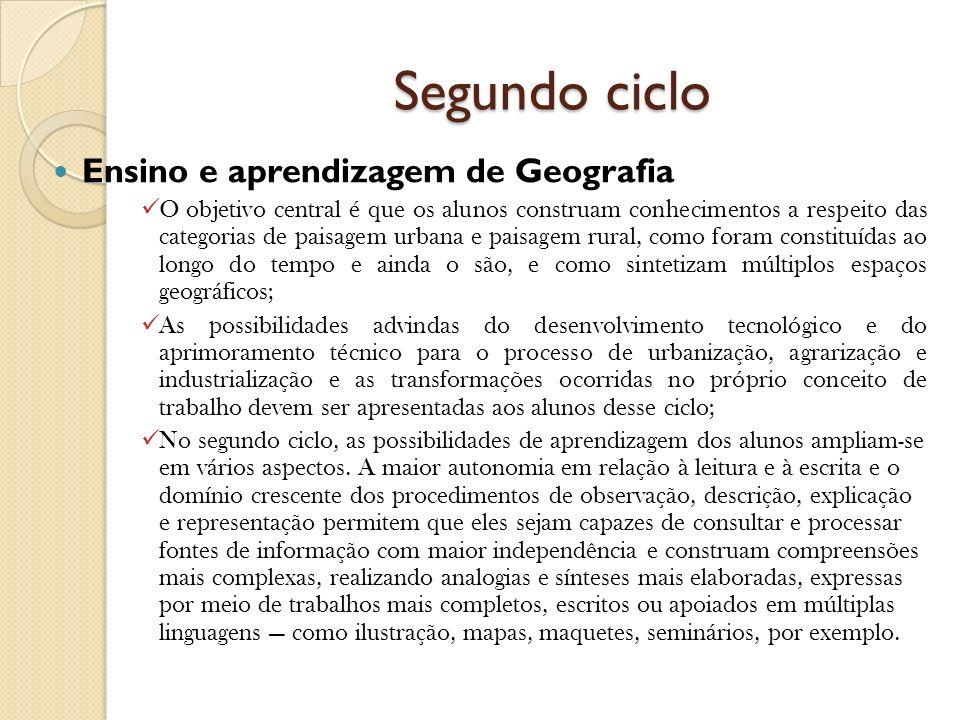 Segundo ciclo Ensino e aprendizagem de Geografia