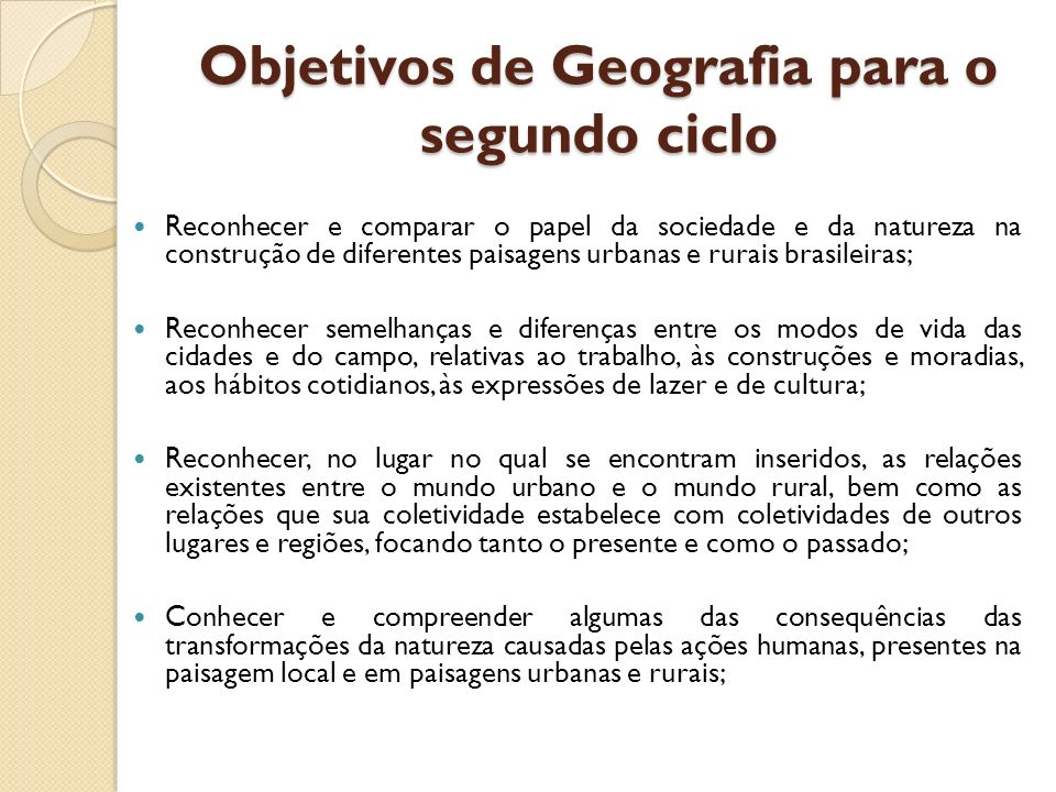 Objetivos de Geografia para o segundo ciclo