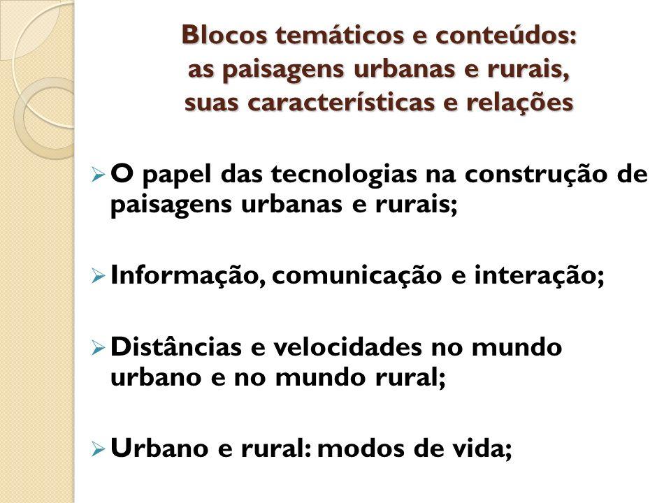 Blocos temáticos e conteúdos: as paisagens urbanas e rurais, suas características e relações