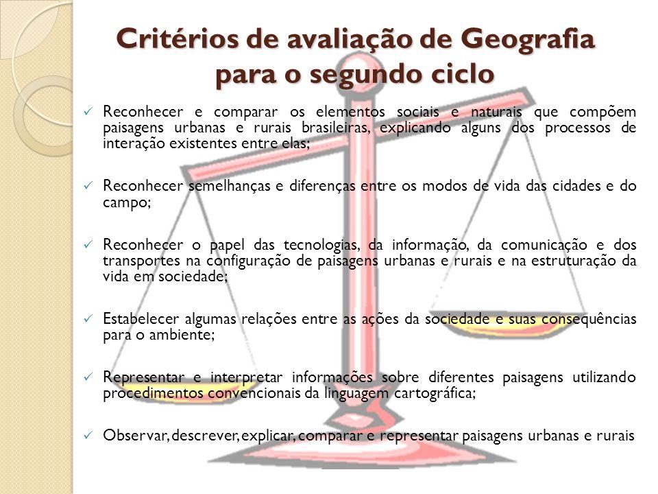 Critérios de avaliação de Geografia para o segundo ciclo