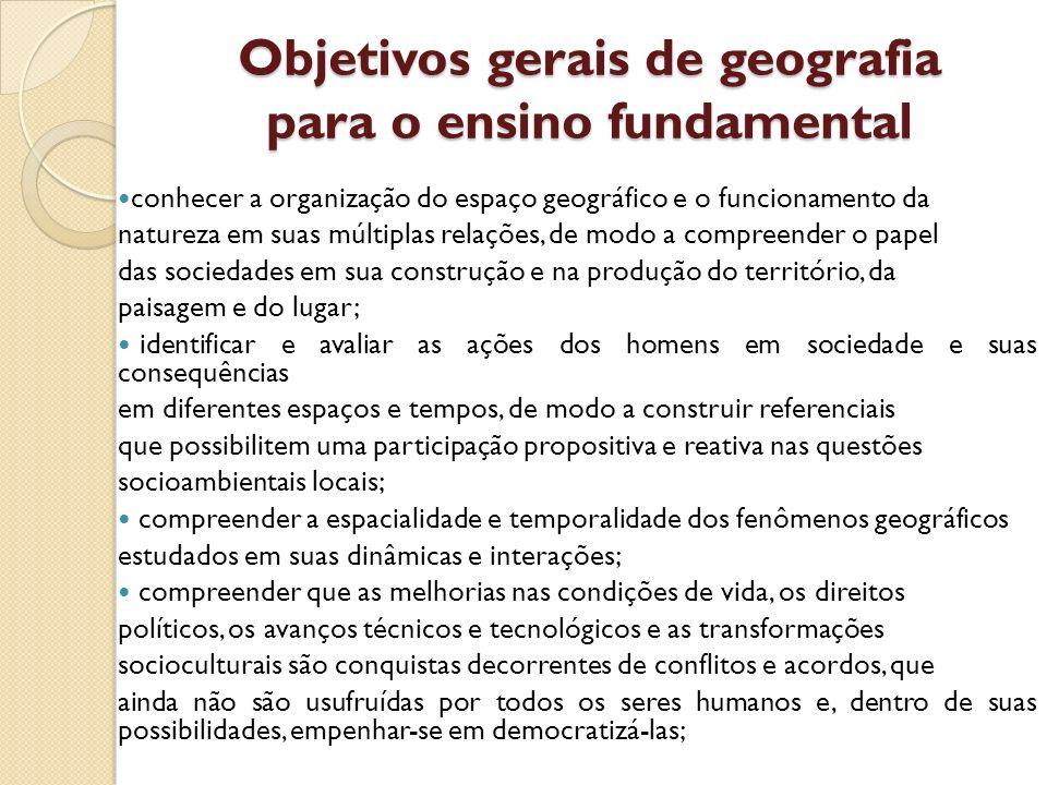 Objetivos gerais de geografia para o ensino fundamental