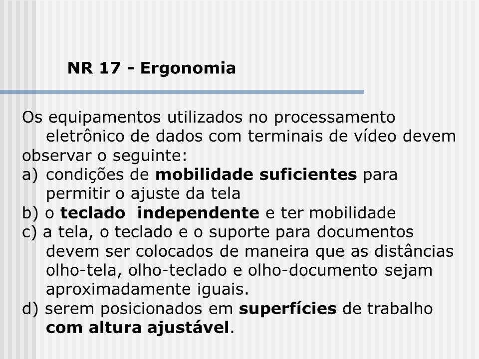 NR 17 - Ergonomia Os equipamentos utilizados no processamento eletrônico de dados com terminais de vídeo devem.