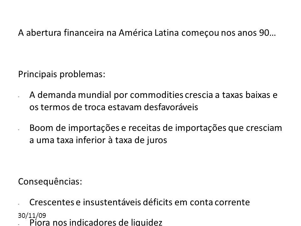 A abertura financeira na América Latina começou nos anos 90…