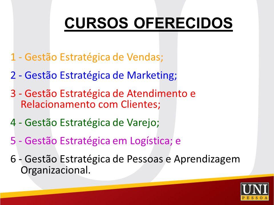 CURSOS OFERECIDOS 1 - Gestão Estratégica de Vendas;
