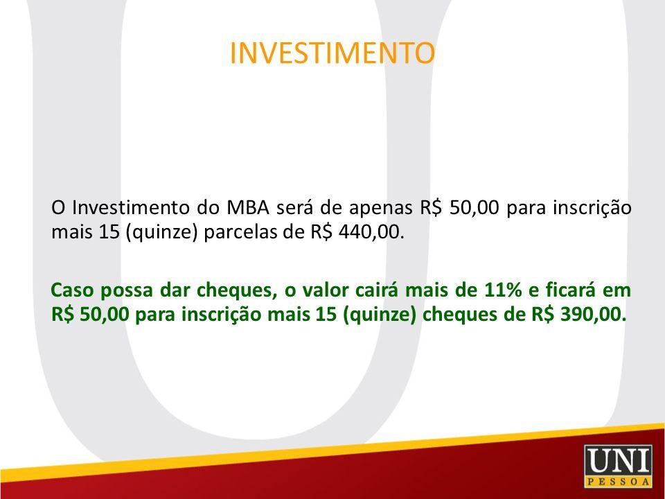 INVESTIMENTO O Investimento do MBA será de apenas R$ 50,00 para inscrição mais 15 (quinze) parcelas de R$ 440,00.