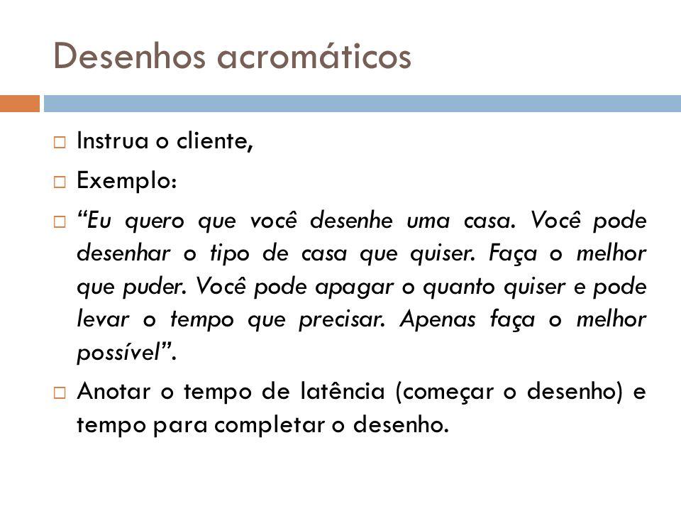 Desenhos acromáticos Instrua o cliente, Exemplo: