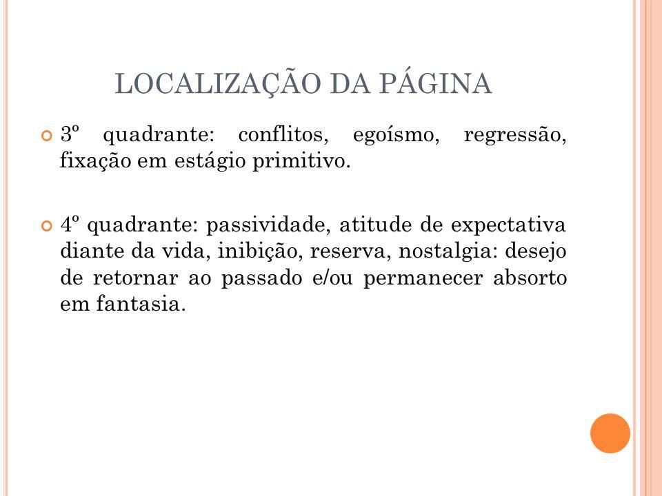 LOCALIZAÇÃO DA PÁGINA 3º quadrante: conflitos, egoísmo, regressão, fixação em estágio primitivo.