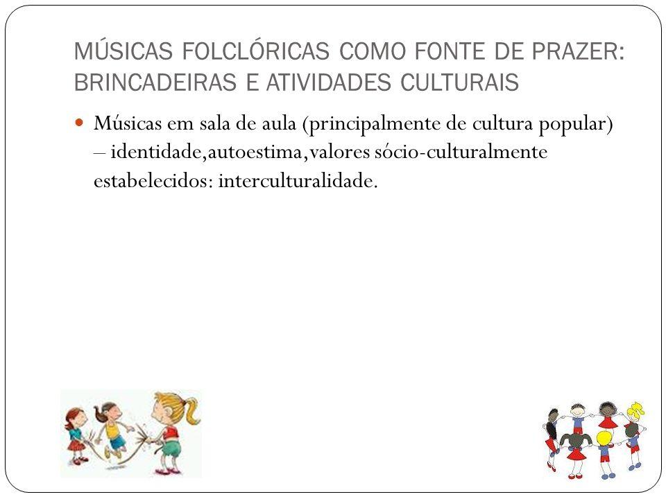 MÚSICAS FOLCLÓRICAS COMO FONTE DE PRAZER: BRINCADEIRAS E ATIVIDADES CULTURAIS
