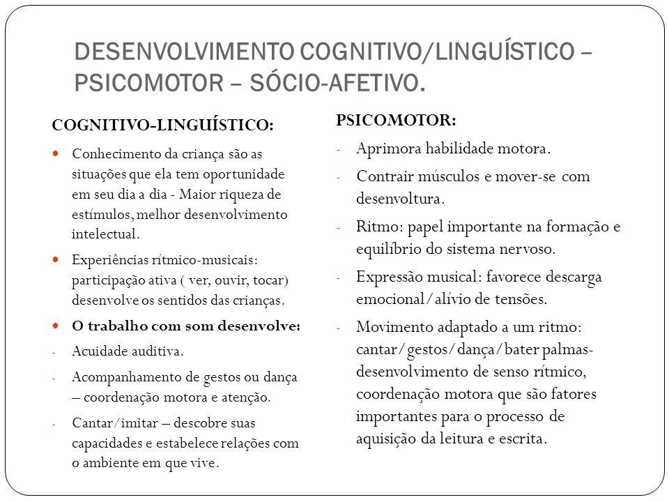 DESENVOLVIMENTO COGNITIVO/LINGUÍSTICO – PSICOMOTOR – SÓCIO-AFETIVO.
