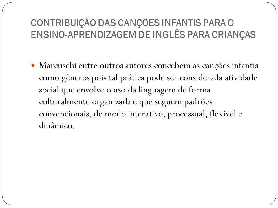 CONTRIBUIÇÃO DAS CANÇÕES INFANTIS PARA O ENSINO-APRENDIZAGEM DE INGLÊS PARA CRIANÇAS