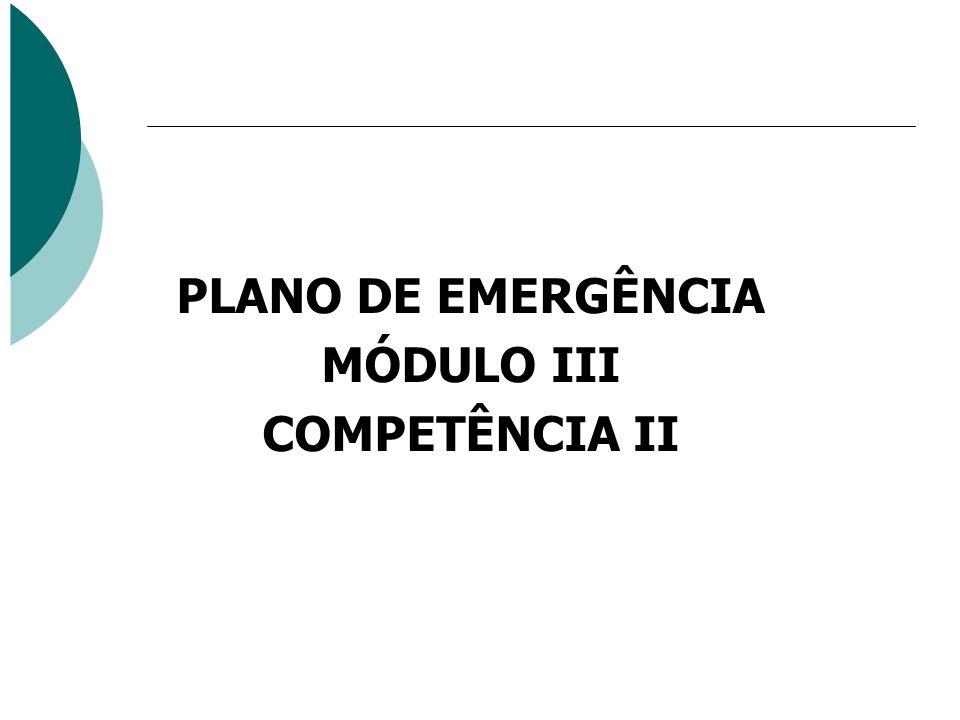 PLANO DE EMERGÊNCIA MÓDULO III COMPETÊNCIA II