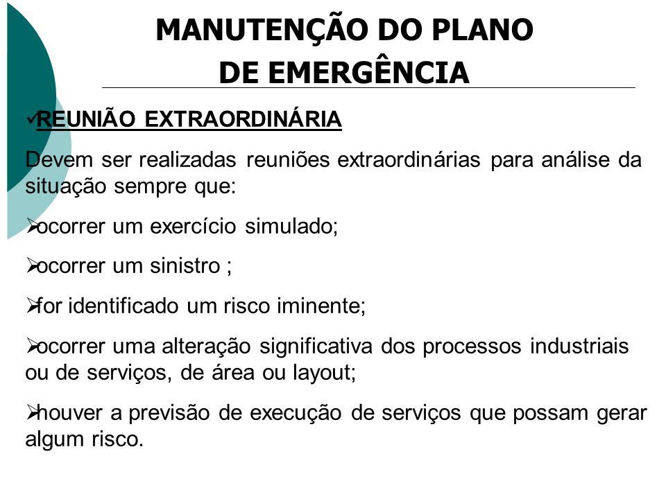 MANUTENÇÃO DO PLANO DE EMERGÊNCIA