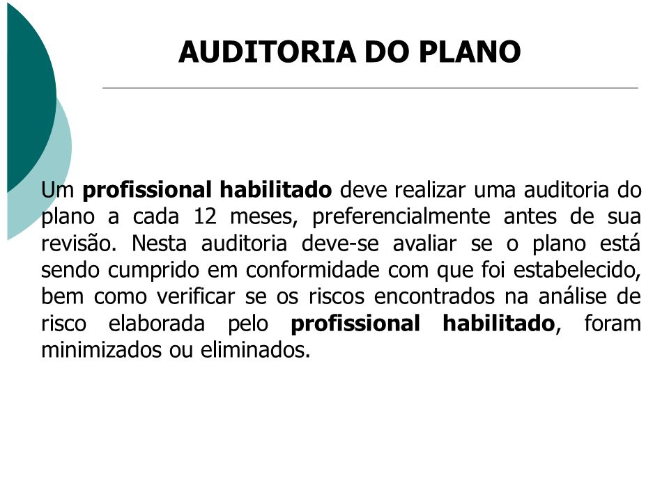 AUDITORIA DO PLANO