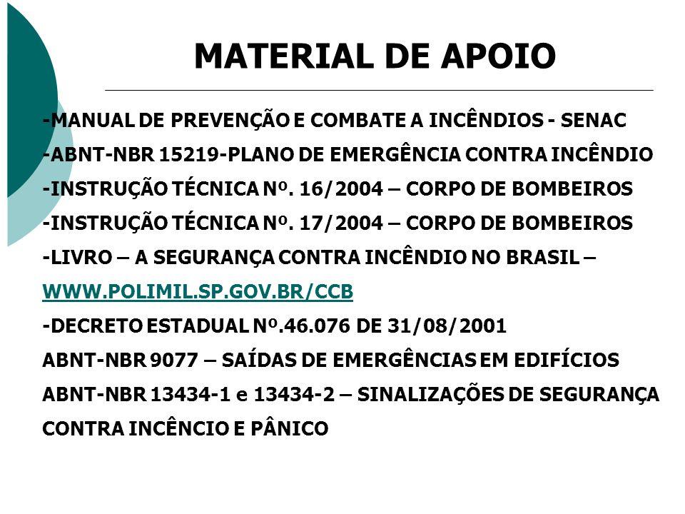 MATERIAL DE APOIO -MANUAL DE PREVENÇÃO E COMBATE A INCÊNDIOS - SENAC