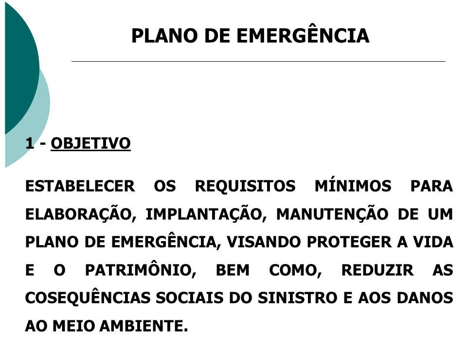 PLANO DE EMERGÊNCIA 1 - OBJETIVO