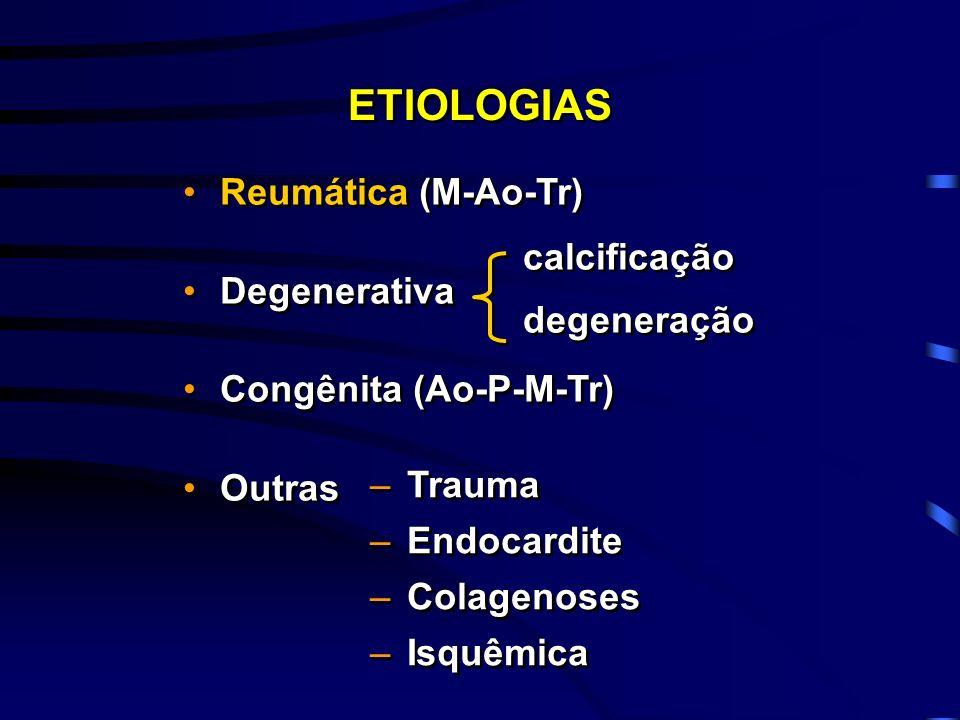 ETIOLOGIAS Reumática (M-Ao-Tr) Degenerativa calcificação