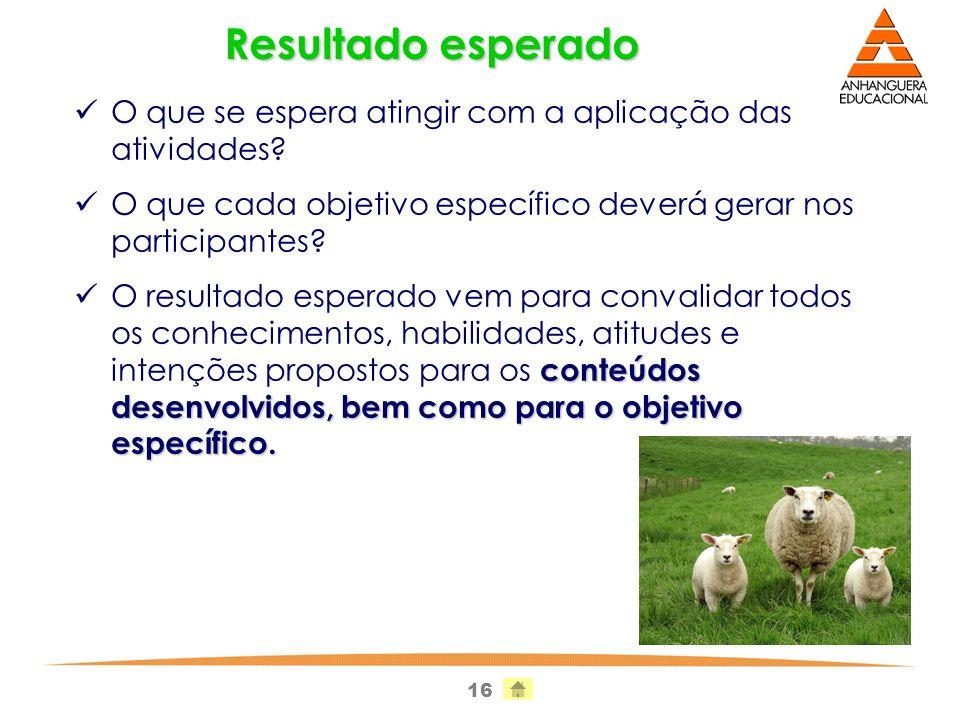 Resultado esperado O que se espera atingir com a aplicação das atividades O que cada objetivo específico deverá gerar nos participantes