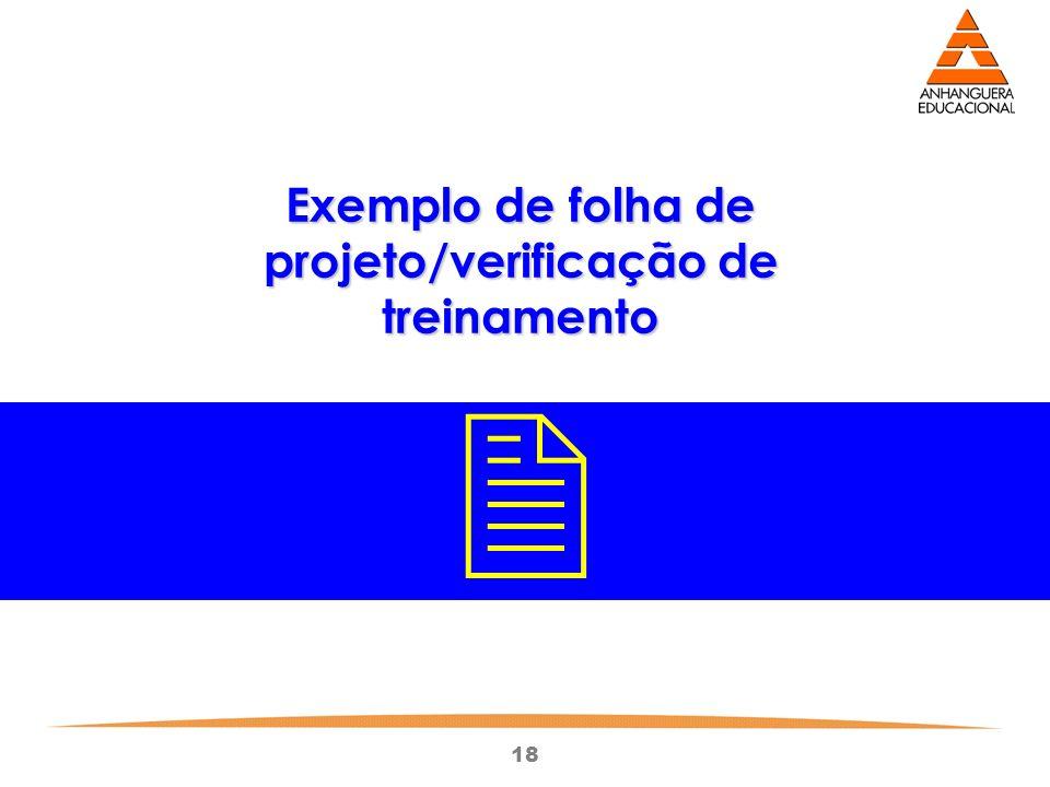 Exemplo de folha de projeto/verificação de treinamento