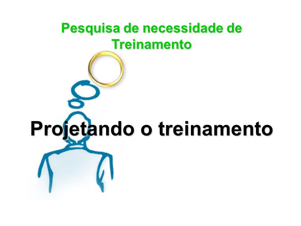 Pesquisa de necessidade de Treinamento Projetando o treinamento