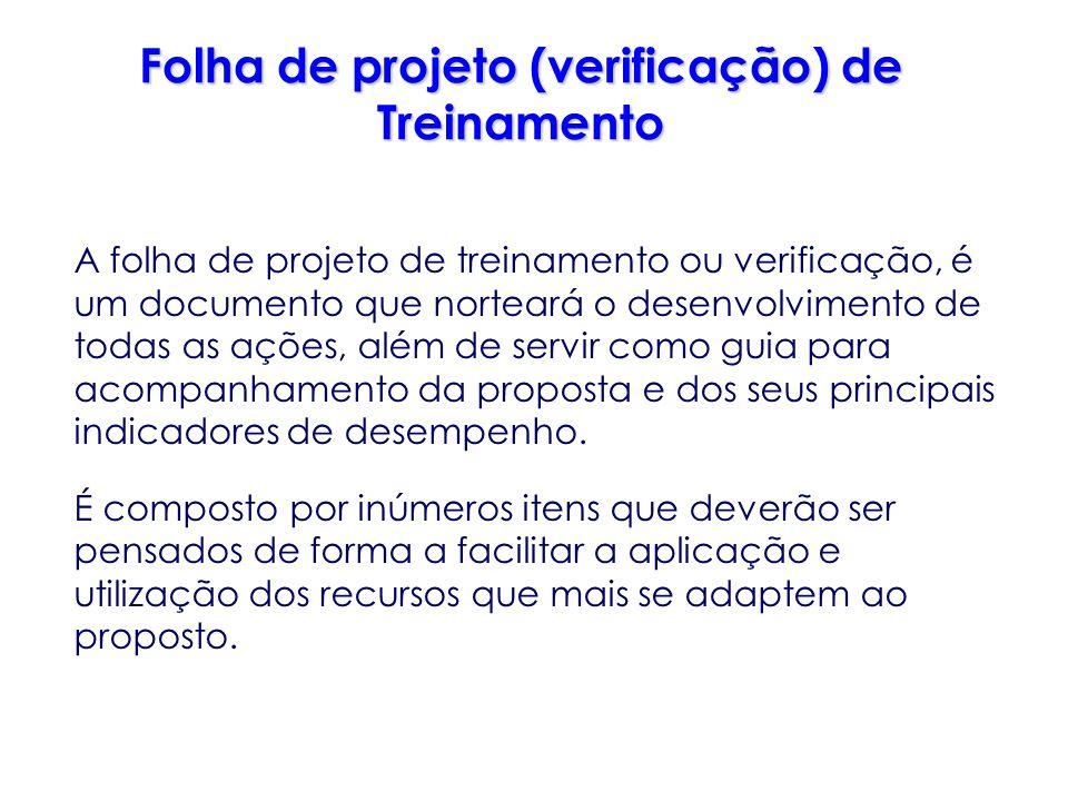 Folha de projeto (verificação) de Treinamento