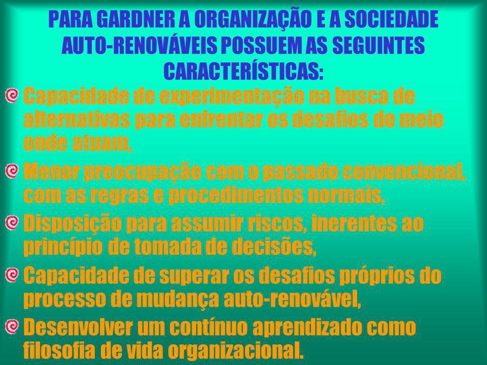PARA GARDNER A ORGANIZAÇÃO E A SOCIEDADE AUTO-RENOVÁVEIS POSSUEM AS SEGUINTES CARACTERÍSTICAS: