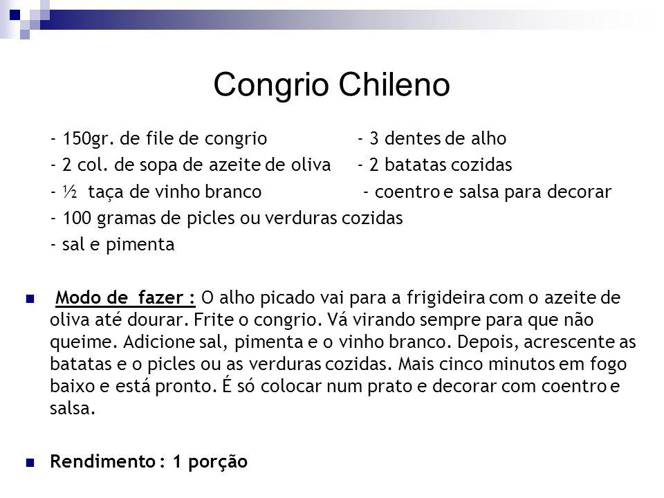 Congrio Chileno - 150gr. de file de congrio - 3 dentes de alho