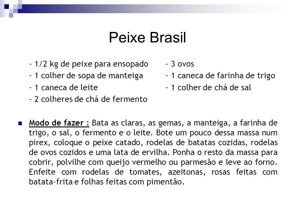 Peixe Brasil - 1/2 kg de peixe para ensopado - 3 ovos