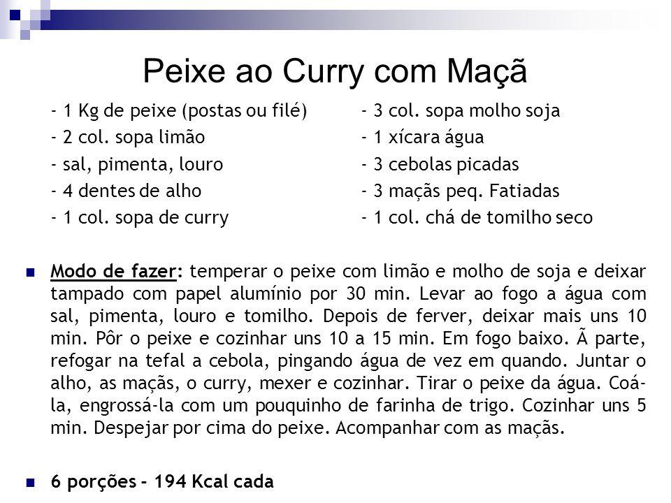 Peixe ao Curry com Maçã - 1 Kg de peixe (postas ou filé) - 3 col. sopa molho soja. - 2 col. sopa limão - 1 xícara água.