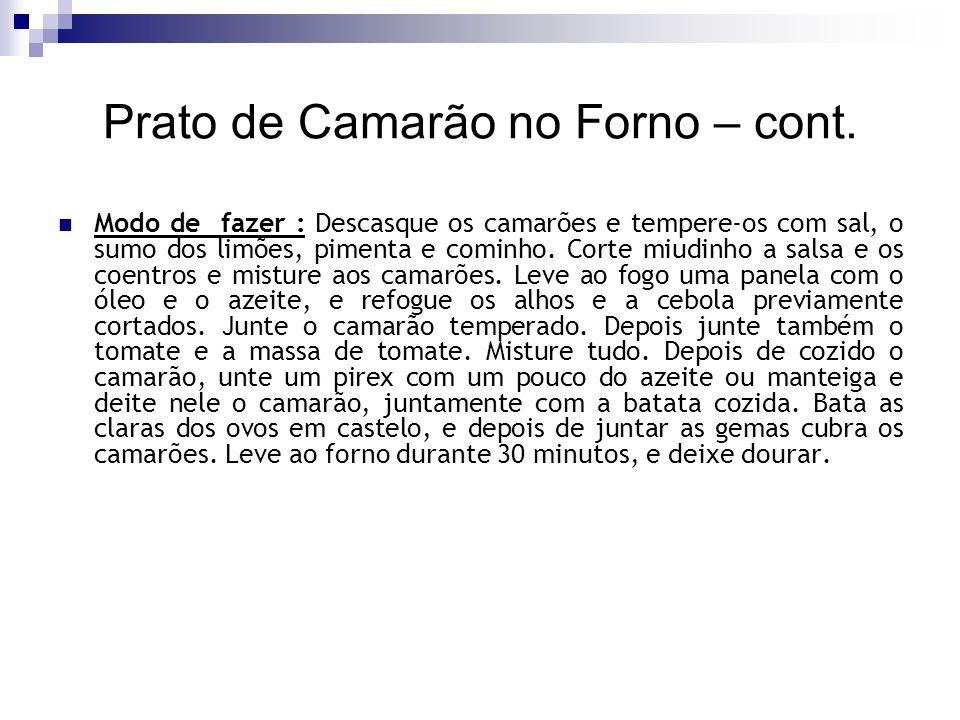 Prato de Camarão no Forno – cont.