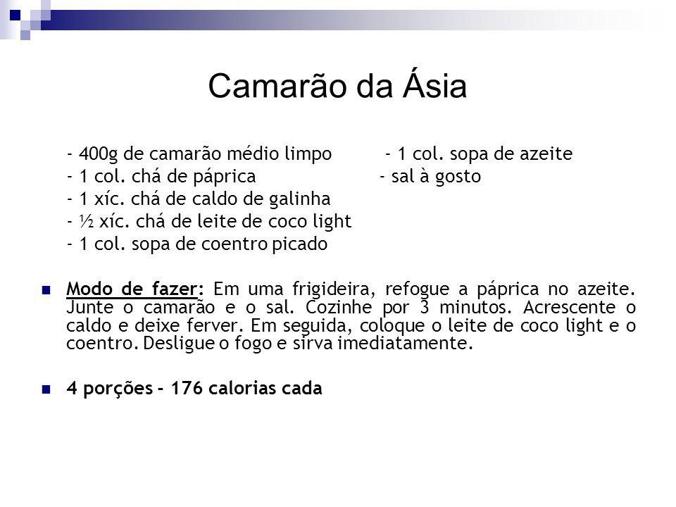 Camarão da Ásia - 400g de camarão médio limpo - 1 col. sopa de azeite