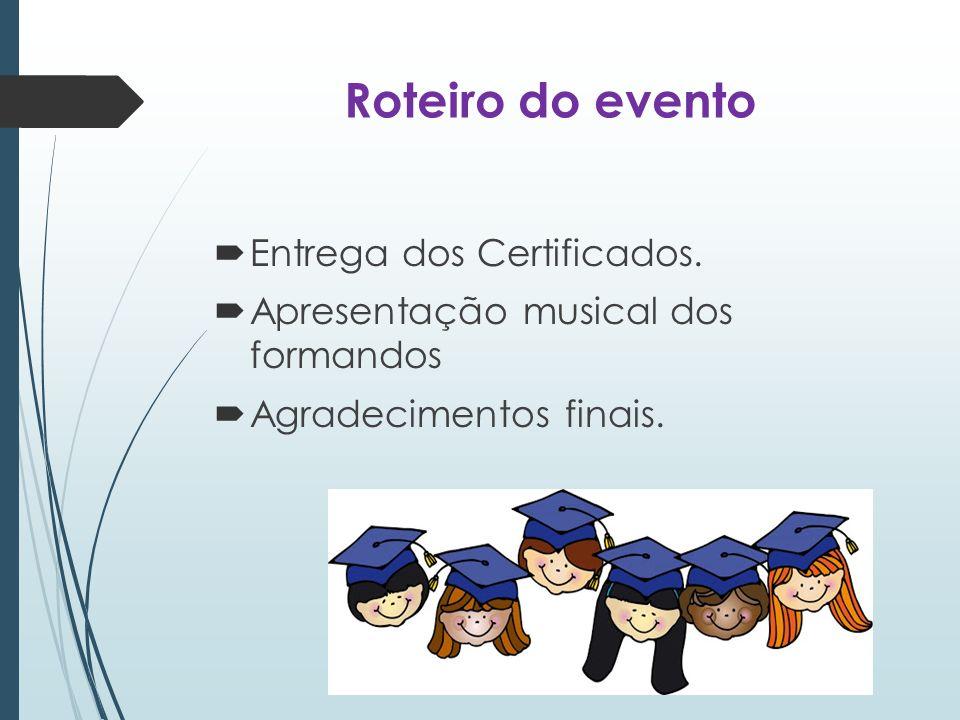 Roteiro do evento Entrega dos Certificados.