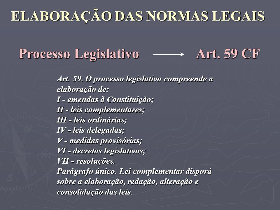 ELABORAÇÃO DAS NORMAS LEGAIS