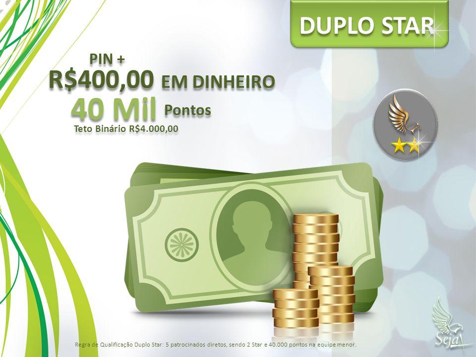 40 Mil R$400,00 EM DINHEIRO DUPLO STAR PIN + Pontos