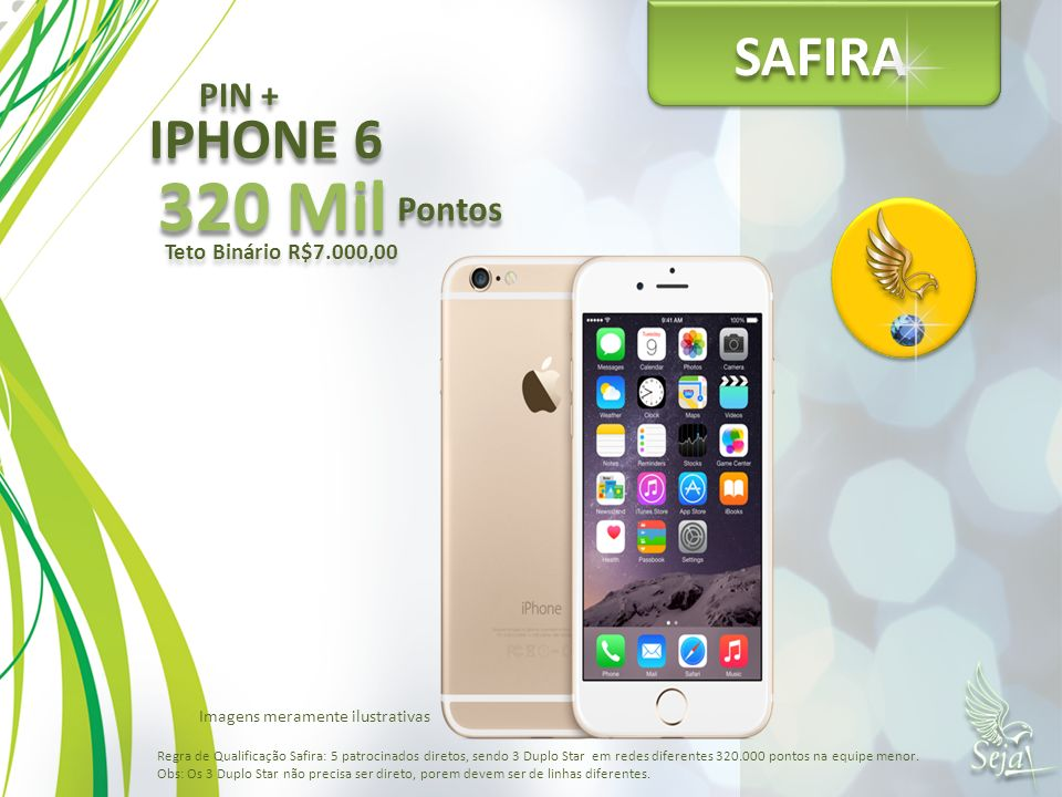 320 Mil SAFIRA IPHONE 6 PIN + Pontos Teto Binário R$7.000,00