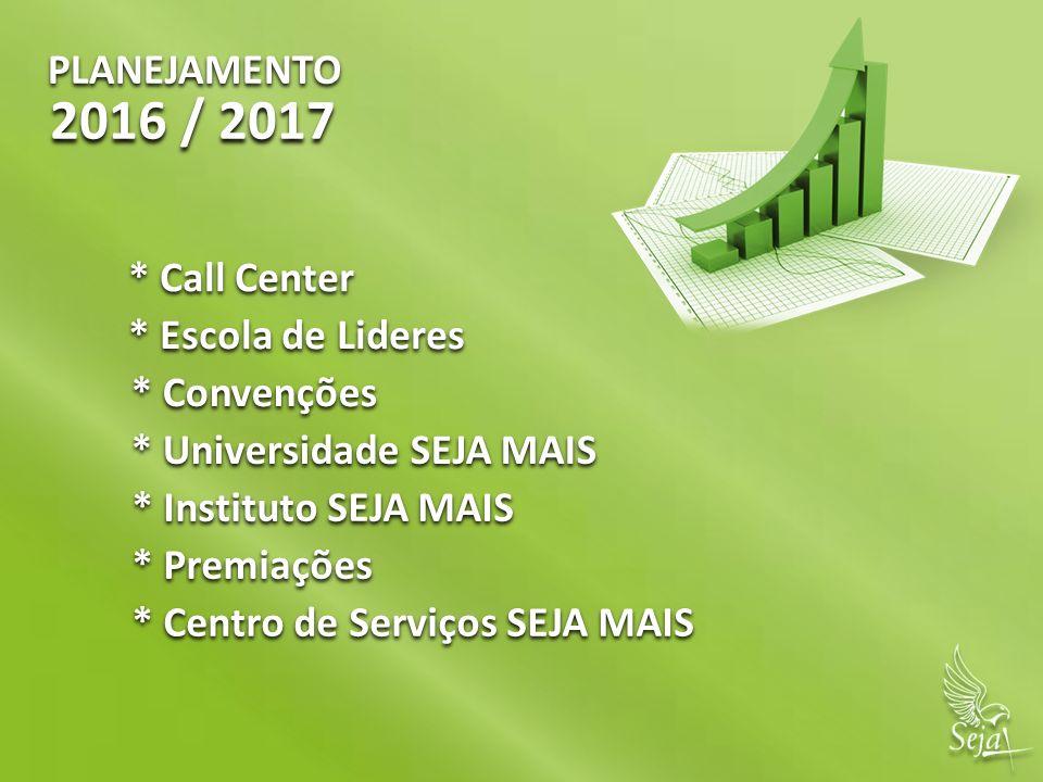 2016 / 2017 PLANEJAMENTO * Call Center * Escola de Lideres