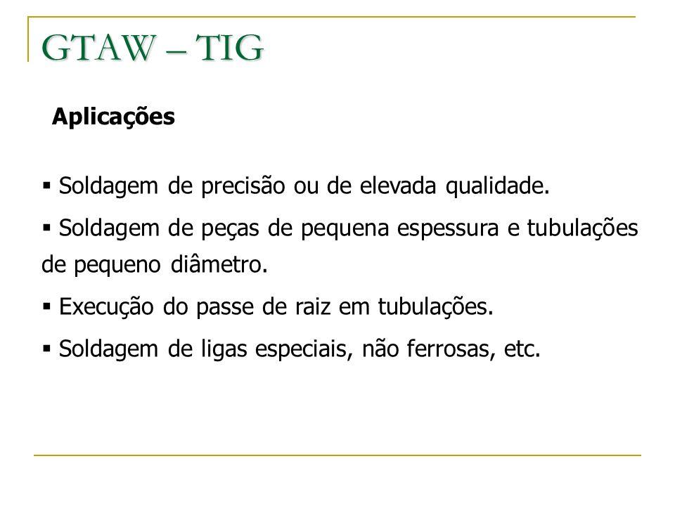 GTAW – TIG Aplicações Soldagem de precisão ou de elevada qualidade.