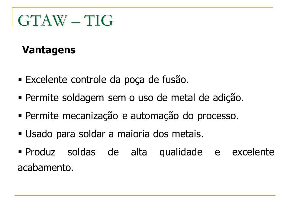 GTAW – TIG Vantagens Excelente controle da poça de fusão.