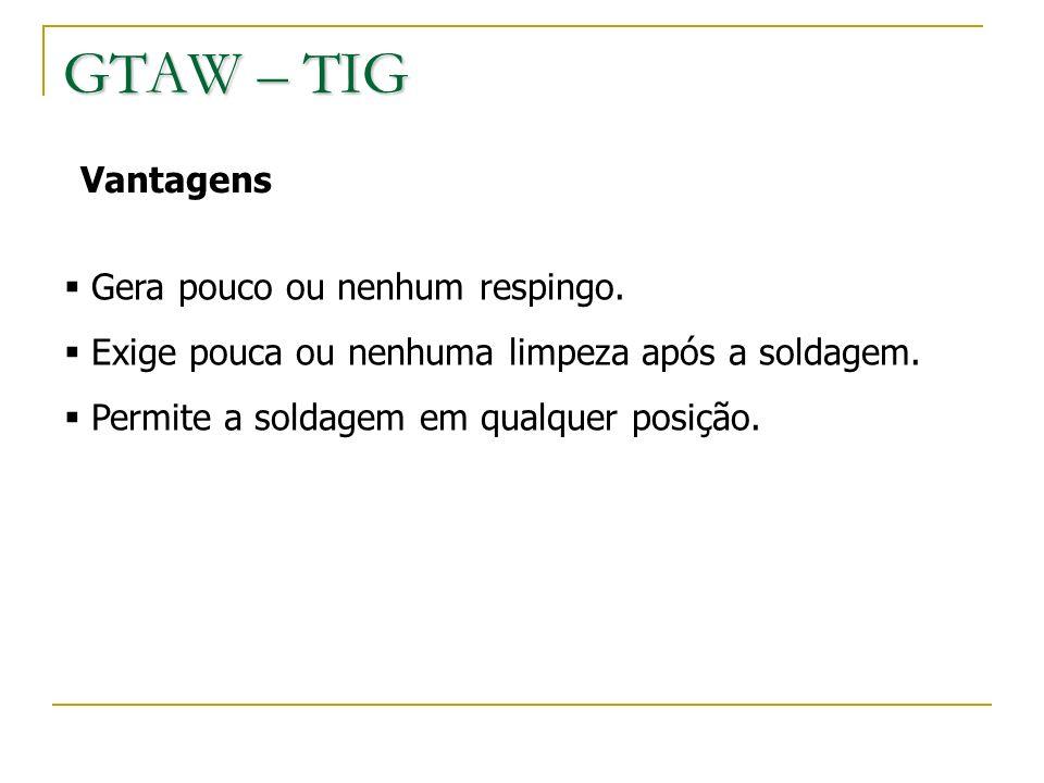 GTAW – TIG Vantagens Gera pouco ou nenhum respingo.