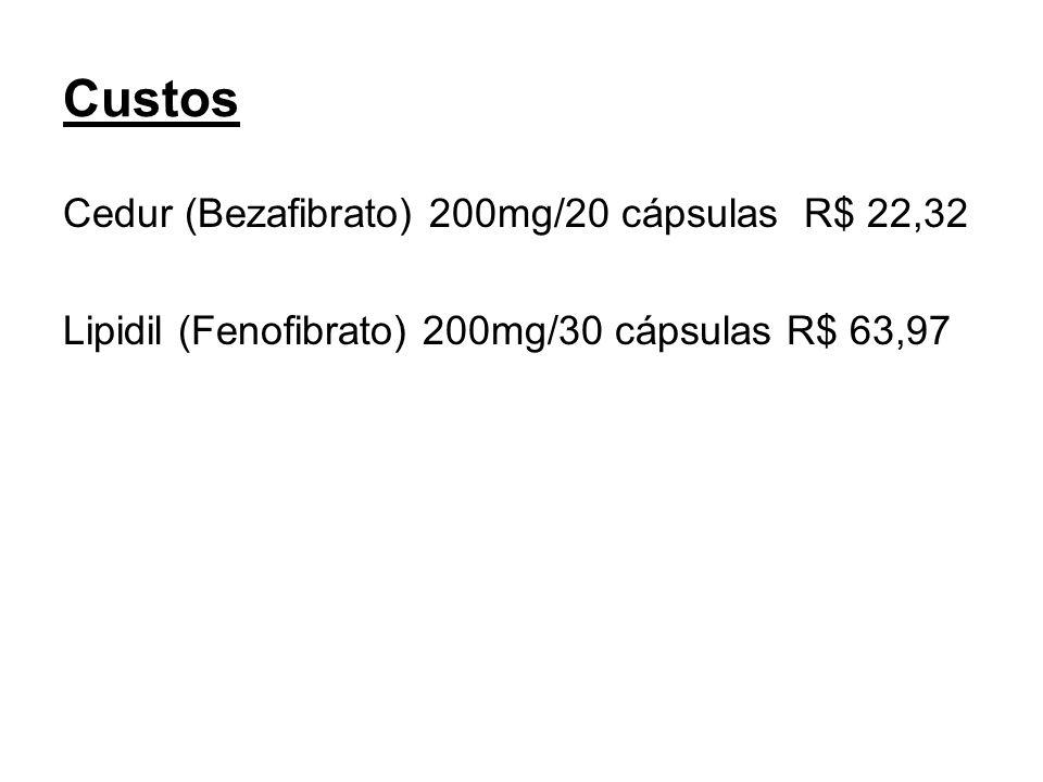 Custos Cedur (Bezafibrato) 200mg/20 cápsulas R$ 22,32