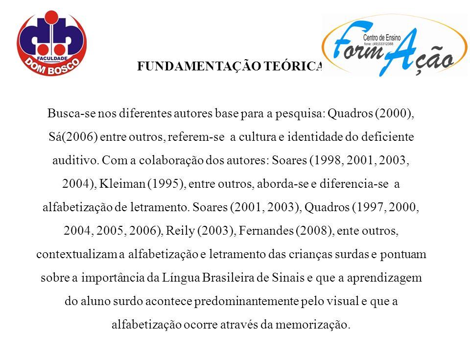 FUNDAMENTAÇÃO TEÓRICA Busca-se nos diferentes autores base para a pesquisa: Quadros (2000), Sá(2006) entre outros, referem-se a cultura e identidade do deficiente auditivo.