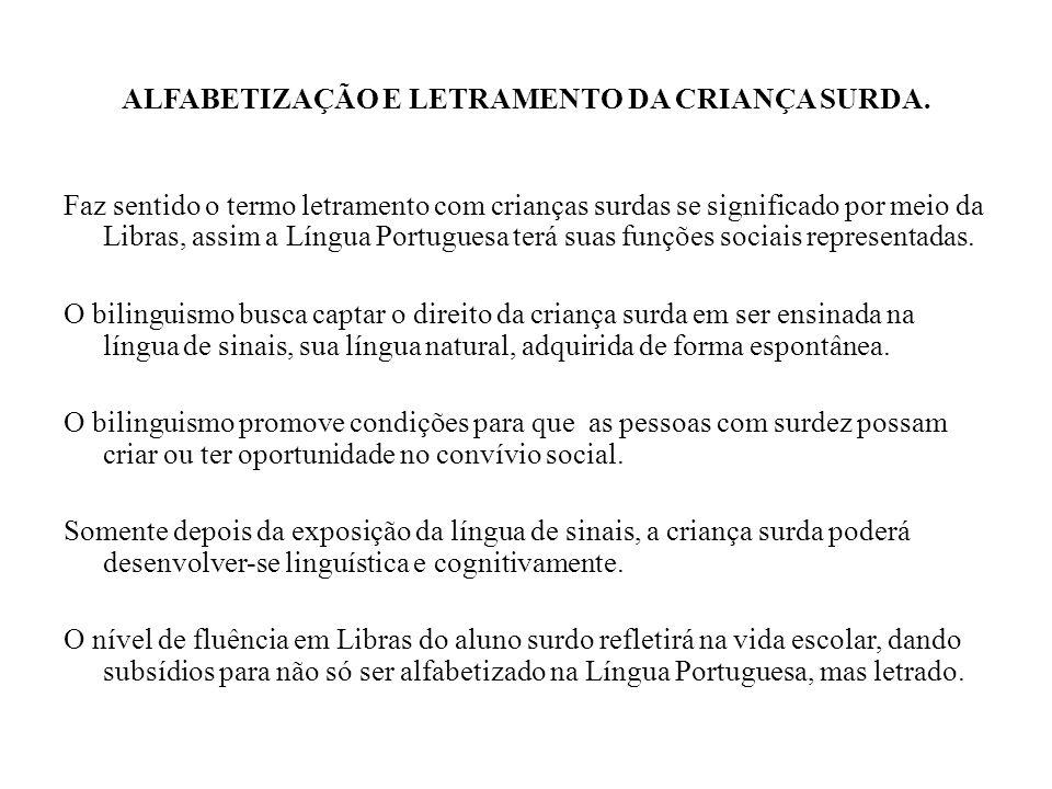 ALFABETIZAÇÃO E LETRAMENTO DA CRIANÇA SURDA.