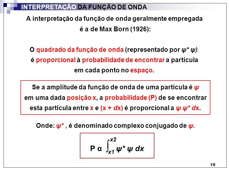 P α ∫ ψ* ψ dx INTERPRETAÇÃO DA FUNÇÃO DE ONDA