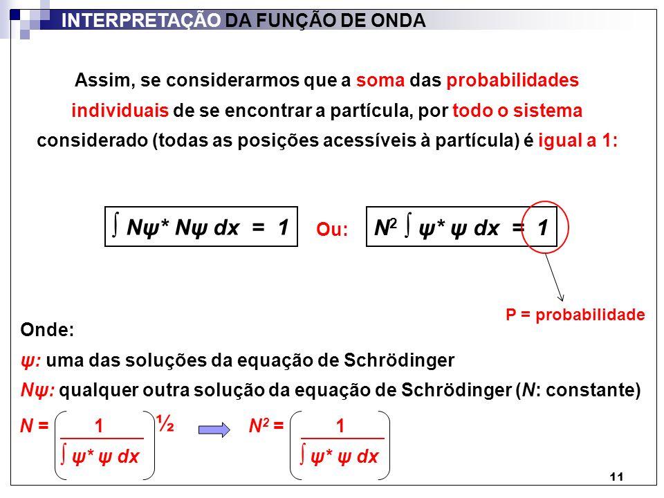 ∫ Nψ* Nψ dx = 1 N2 ∫ ψ* ψ dx = 1 ½ INTERPRETAÇÃO DA FUNÇÃO DE ONDA