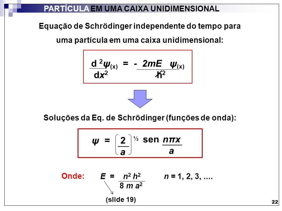 d 2ψ(x) = - 2mE ψ(x) dx2 h2 ψ = 2 ½ a sen nπx a