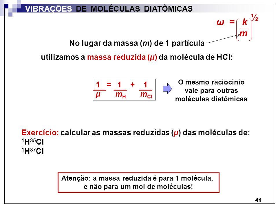 ½ ω = k m VIBRAÇÕES DE MOLÉCULAS DIATÔMICAS