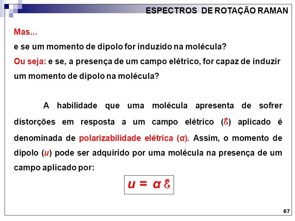 u = α E ESPECTROS DE ROTAÇÃO RAMAN Mas...