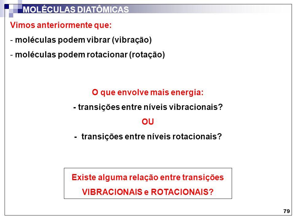 Vimos anteriormente que: moléculas podem vibrar (vibração)