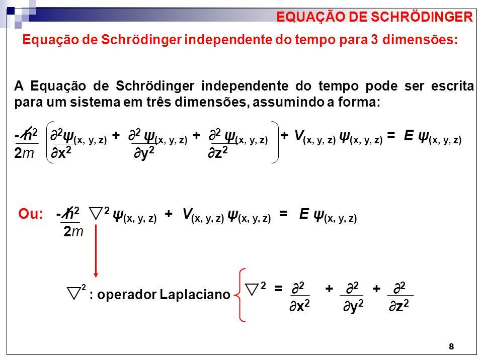 Equação de Schrödinger independente do tempo para 3 dimensões: